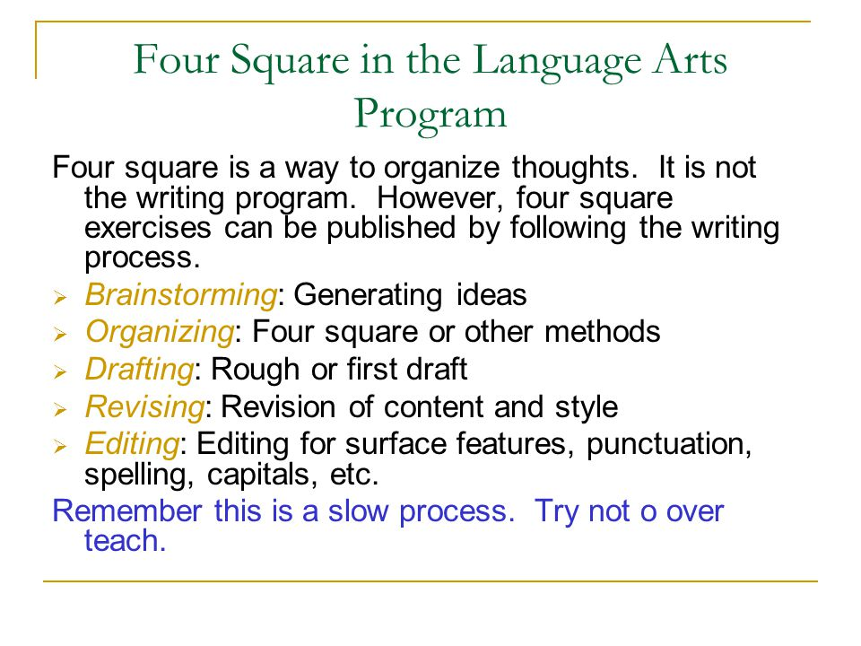 Four Square in the Language Arts Program Four square is a way to organize thoughts. It is not the writing program. However, four square exercises can