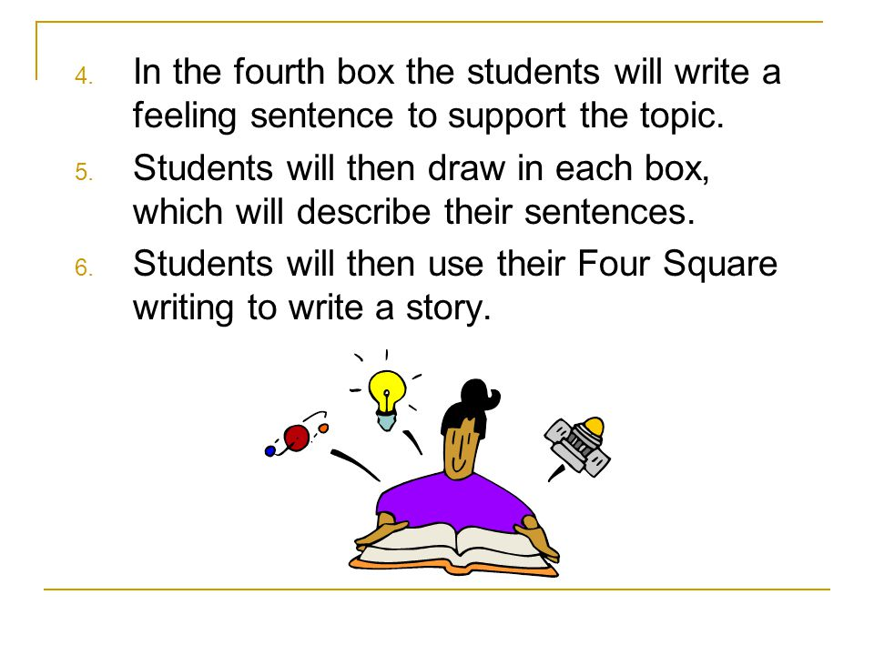 4. In the fourth box the students will write a feeling sentence to support the topic. 5. Students will then draw in each box, which will describe thei