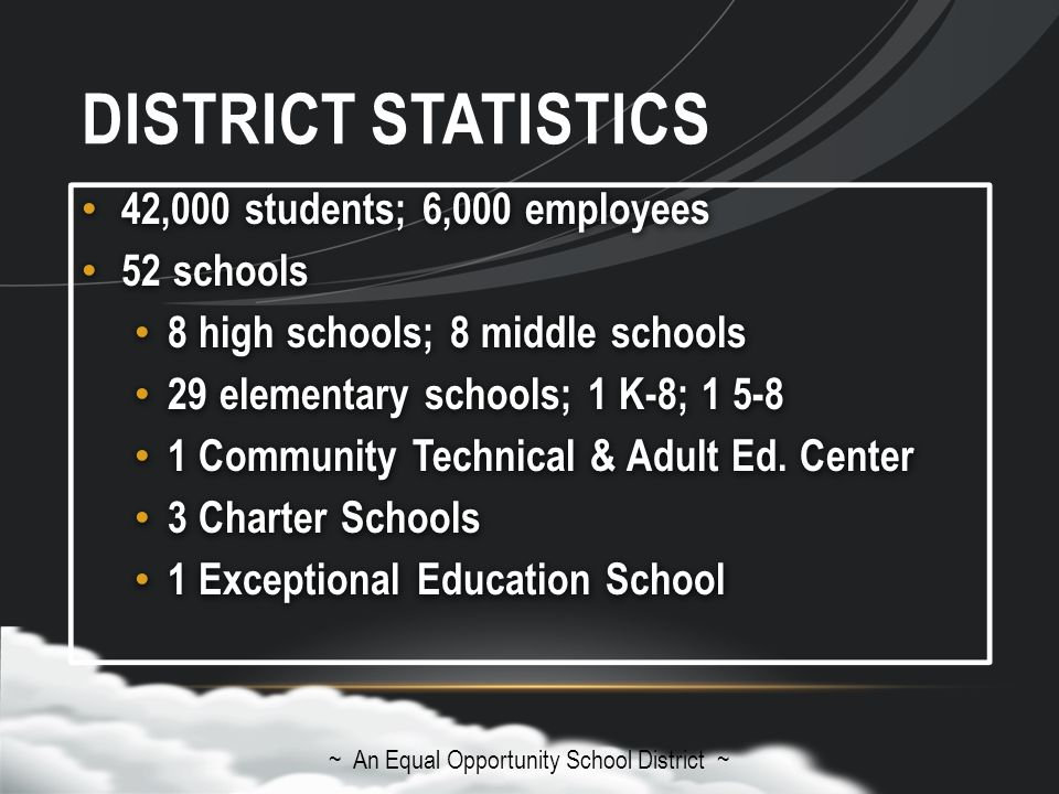 DISTRICT STATISTICS 42,000 students; 6,000 employees 52 schools 8 high schools; 8 middle schools 29 elementary schools; 1 K-8; 1 5-8 1 Community Technical & Adult Ed.