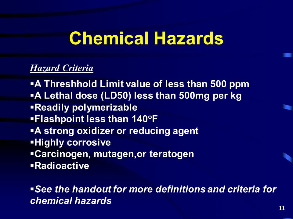 Chemical Hazards Hazard Criteria  A Threshhold Limit value of less than 500 ppm  A Lethal dose (LD50) less than 500mg per kg  Readily polymerizable