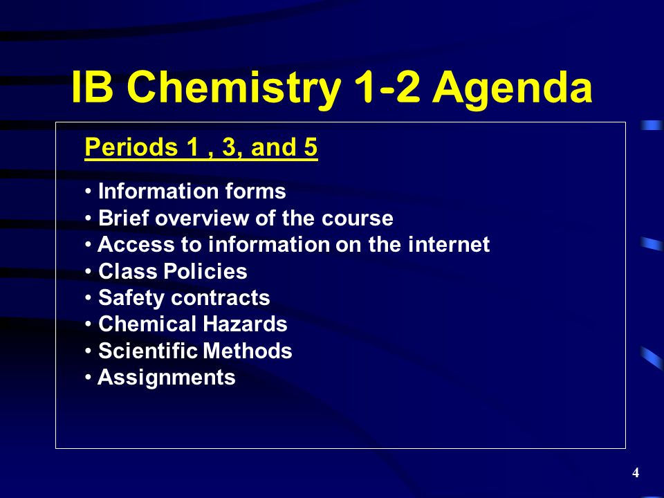 Periods 1, 3, and 5 Information forms Brief overview of the course Access to information on the internet Class Policies Safety contracts Chemical Haza