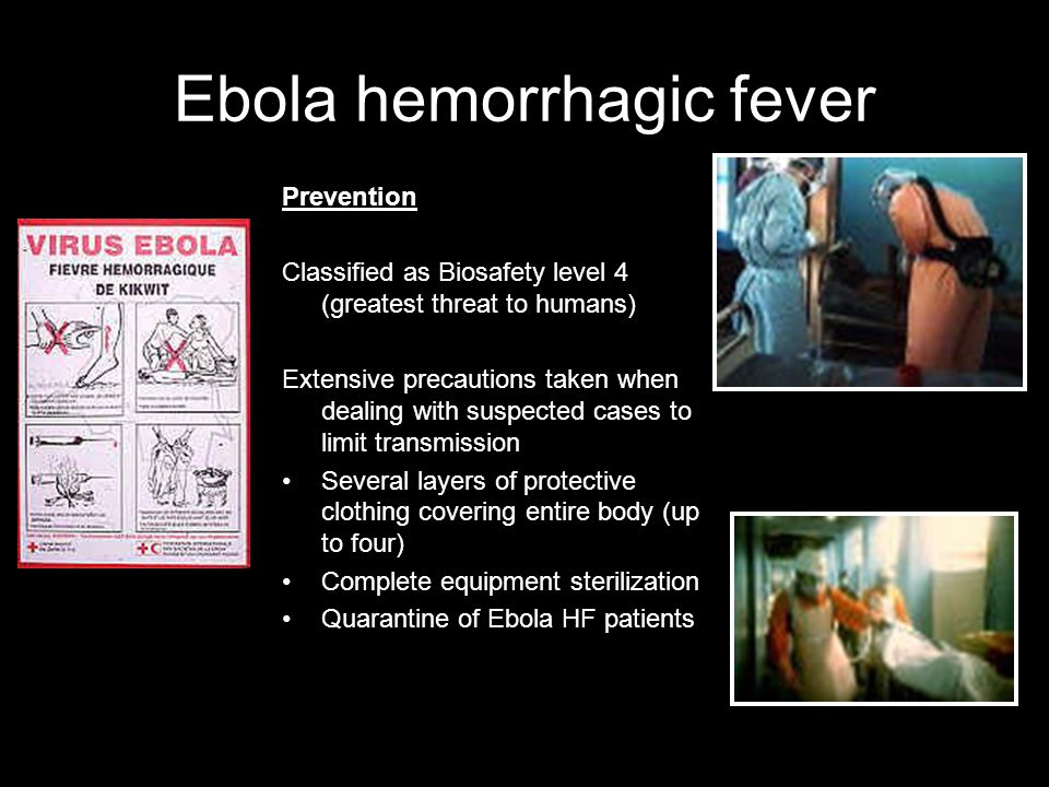 Ebola hemorrhagic fever THERE IS NO CURE FOR EBOLA HF Care of Infected Persons: -Supportive therapy-Maintain oxygen status, BP -Balance fluids and ele