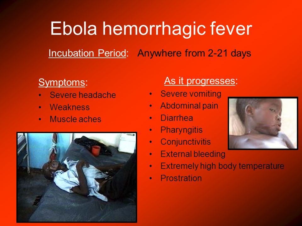 Ebola hemorrhagic fever Symptoms: Severe headache Weakness Muscle aches As it progresses: Severe vomiting Abdominal pain Diarrhea Pharyngitis Conjunctivitis External bleeding Extremely high body temperature Prostration Incubation Period: Anywhere from 2-21 days