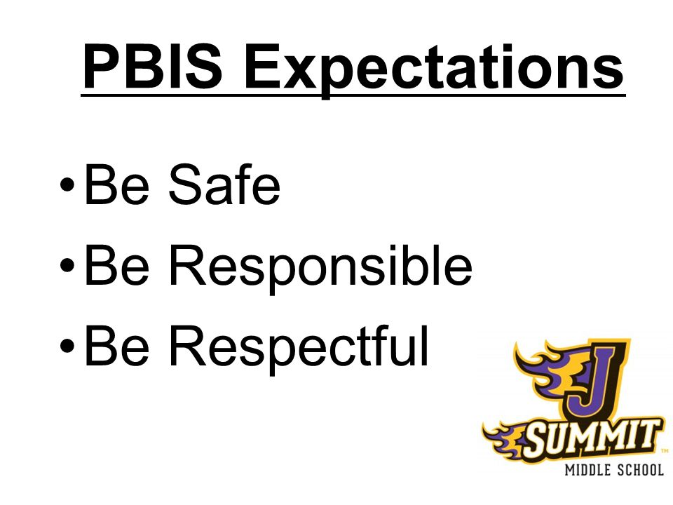 PBIS Expectations Be Safe Be Responsible Be Respectful