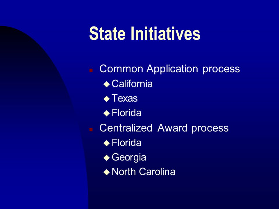 State Initiatives n Common Application process u California u Texas u Florida n Centralized Award process u Florida u Georgia u North Carolina