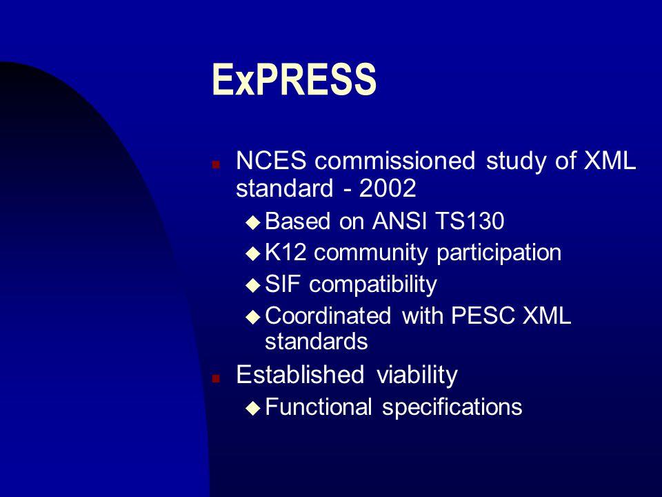 ExPRESS n NCES commissioned study of XML standard - 2002 u Based on ANSI TS130 u K12 community participation u SIF compatibility u Coordinated with PE