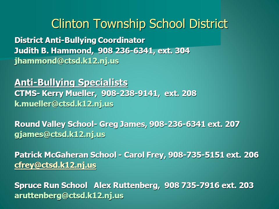 Clinton Township School District District Anti-Bullying Coordinator Judith B.
