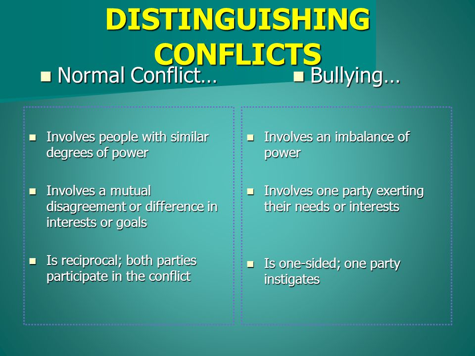 Normal Conflict… Normal Conflict… Bullying… Bullying… Involves an imbalance of power Involves an imbalance of power Involves one party exerting their needs or interests Involves one party exerting their needs or interests Is one-sided; one party instigates Is one-sided; one party instigates Involves people with similar degrees of power Involves people with similar degrees of power Involves a mutual disagreement or difference in interests or goals Involves a mutual disagreement or difference in interests or goals Is reciprocal; both parties participate in the conflict Is reciprocal; both parties participate in the conflict DISTINGUISHING CONFLICTS