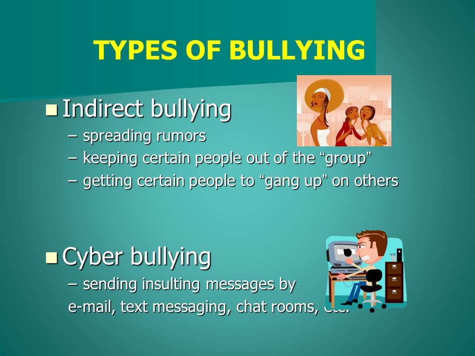 Indirect bullying Indirect bullying –spreading rumors –keeping certain people out of the group –getting certain people to gang up on others Cyber bullying Cyber bullying –sending insulting messages by e-mail, text messaging, chat rooms, etc.