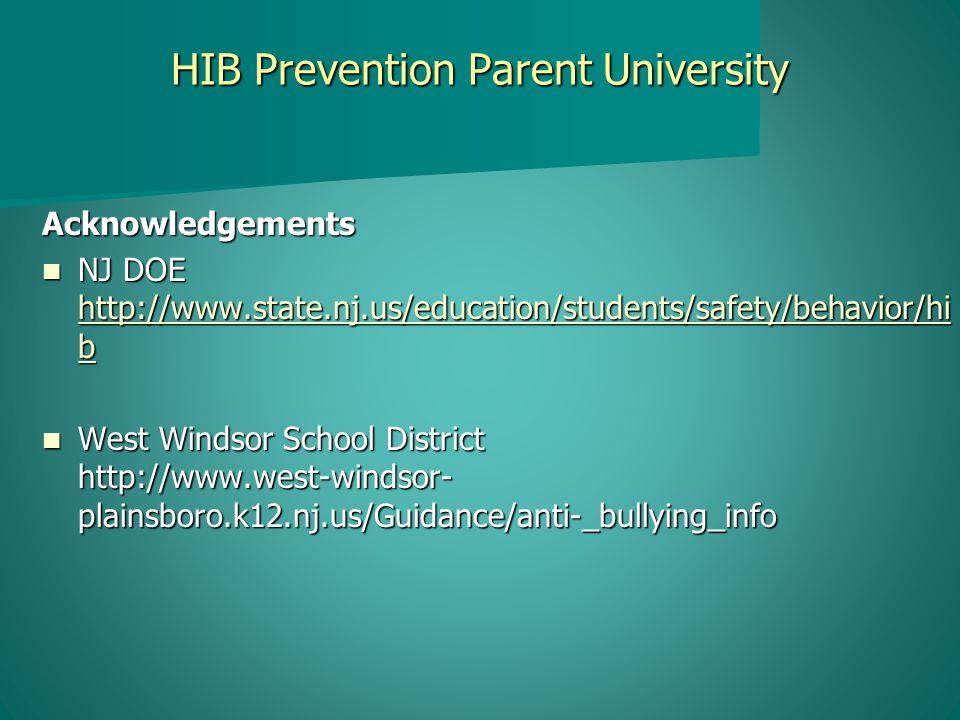 HIB Prevention Parent University Acknowledgements NJ DOE http://www.state.nj.us/education/students/safety/behavior/hi b NJ DOE http://www.state.nj.us/education/students/safety/behavior/hi b http://www.state.nj.us/education/students/safety/behavior/hi b http://www.state.nj.us/education/students/safety/behavior/hi b West Windsor School District http://www.west-windsor- plainsboro.k12.nj.us/Guidance/anti-_bullying_info West Windsor School District http://www.west-windsor- plainsboro.k12.nj.us/Guidance/anti-_bullying_info