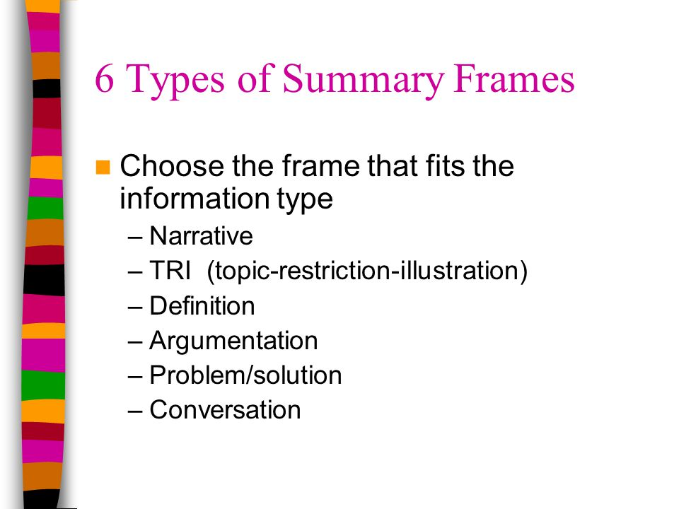 6 Types of Summary Frames Choose the frame that fits the information type –Narrative –TRI (topic-restriction-illustration) –Definition –Argumentation –Problem/solution –Conversation