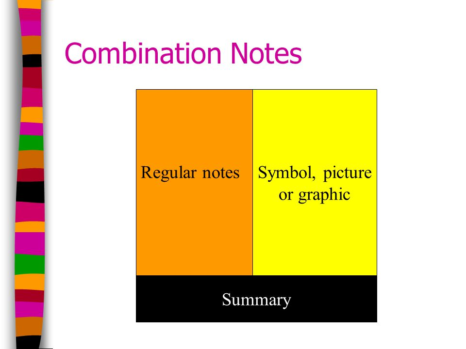 Combination Notes Regular notesSymbol, picture or graphic Summary