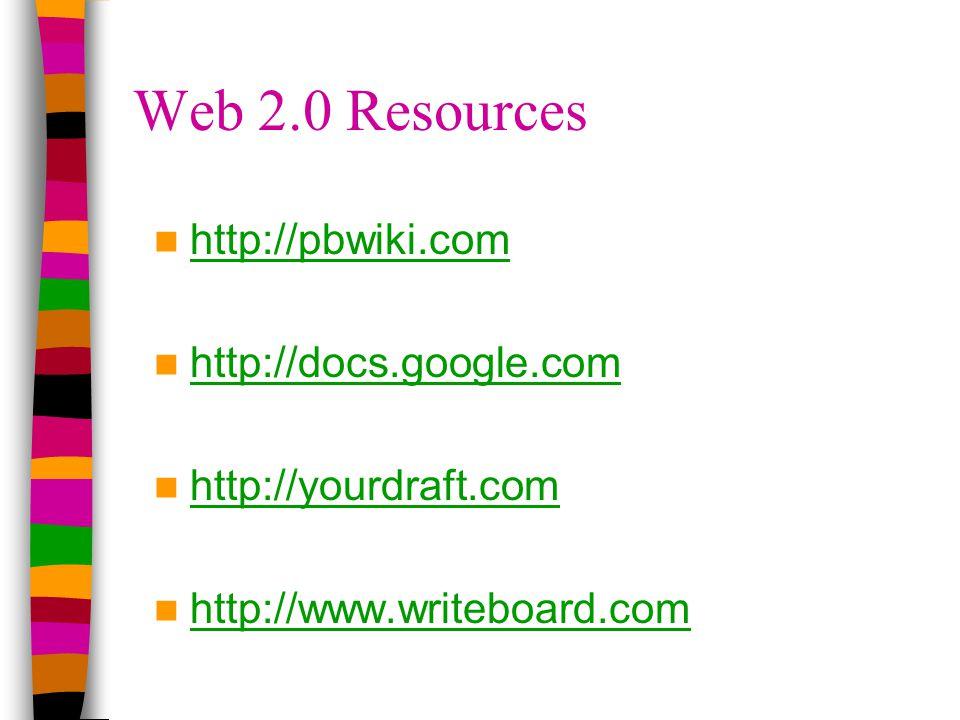 Web 2.0 Resources http://pbwiki.com http://docs.google.com http://yourdraft.com http://www.writeboard.com