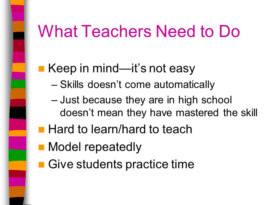 What Teachers Need to Do Keep in mind—it's not easy –Skills doesn't come automatically –Just because they are in high school doesn't mean they have mastered the skill Hard to learn/hard to teach Model repeatedly Give students practice time