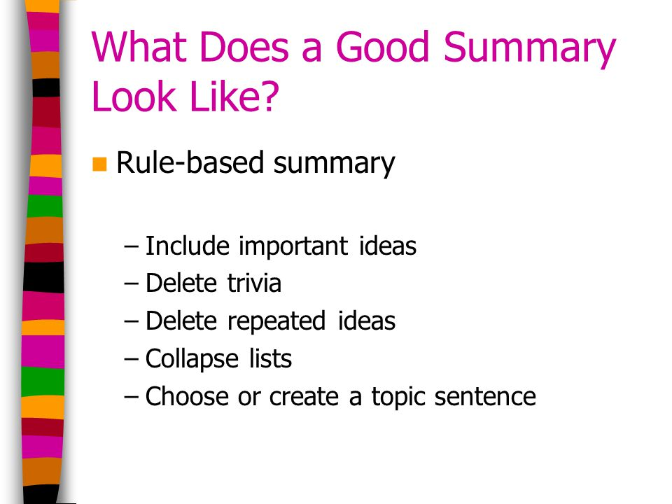 What Does a Good Summary Look Like.
