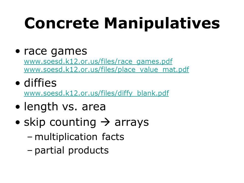 Concrete Manipulatives race games www.soesd.k12.or.us/files/race_games.pdf www.soesd.k12.or.us/files/place_value_mat.pdf www.soesd.k12.or.us/files/race_games.pdf www.soesd.k12.or.us/files/place_value_mat.pdf diffies www.soesd.k12.or.us/files/diffy_blank.pdf www.soesd.k12.or.us/files/diffy_blank.pdf length vs.