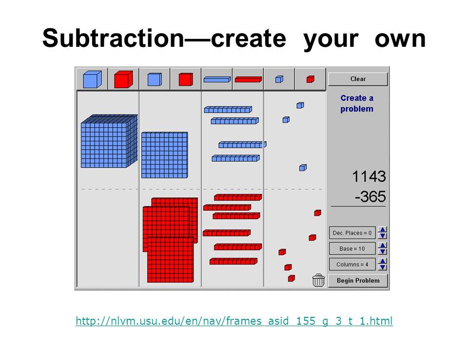 Subtraction—create your own http://nlvm.usu.edu/en/nav/frames_asid_155_g_3_t_1.html