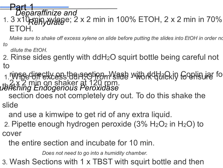 Deparaffinize and Rehydrate 1. 3 x10 min xylene; 2 x 2 min in 100% ETOH, 2 x 2 min in 70% ETOH.