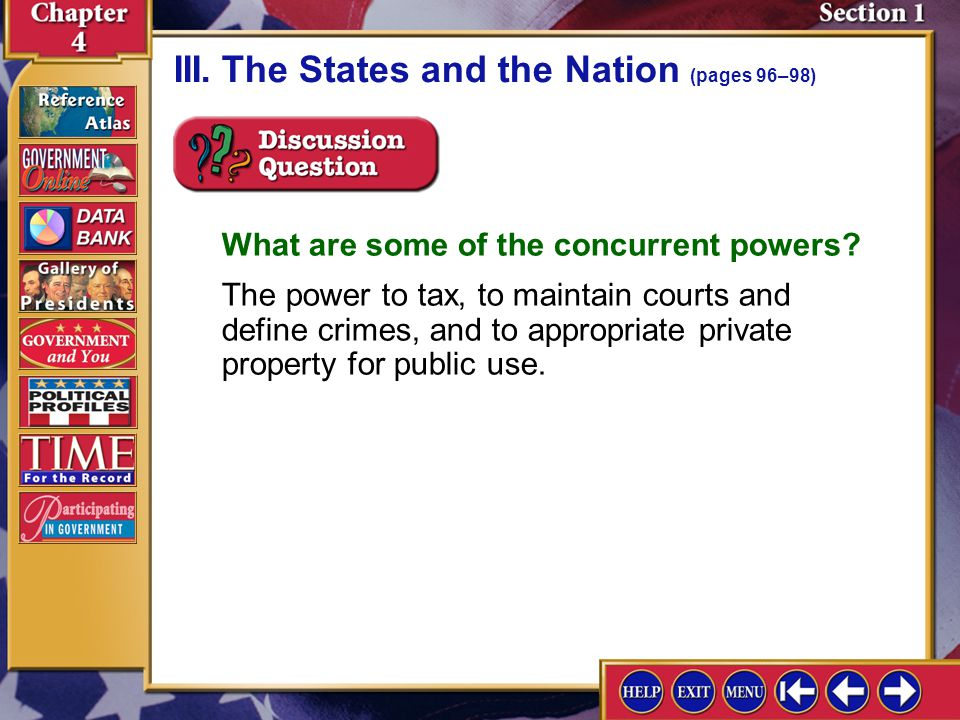 Section 1-7 III.The States and the Nation (pages 96–98)
