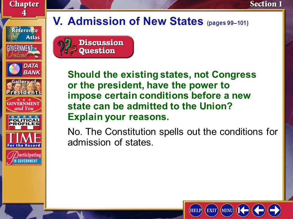 Section 1-11 A.Congress has the power to admit new states to the Union.