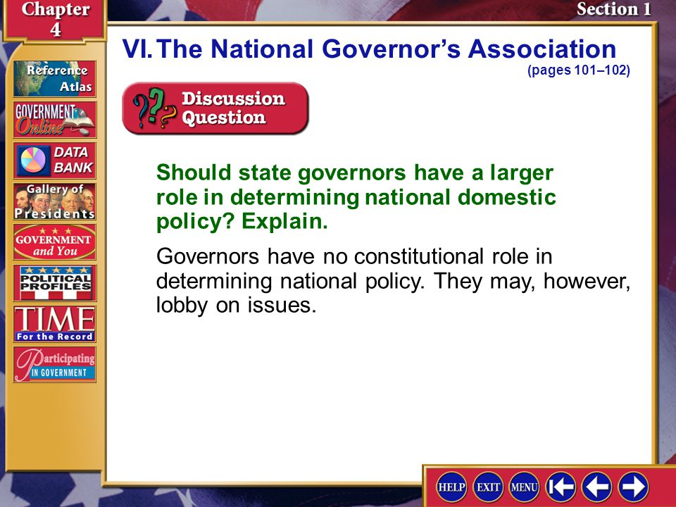 Section 1-13 A.The NGA helps the states' governors solve common problems.