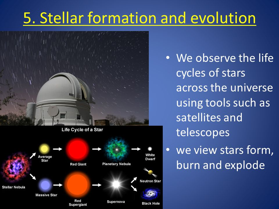 5. Stellar formation and evolution We observe the life cycles of stars across the universe using tools such as satellites and telescopes we view stars