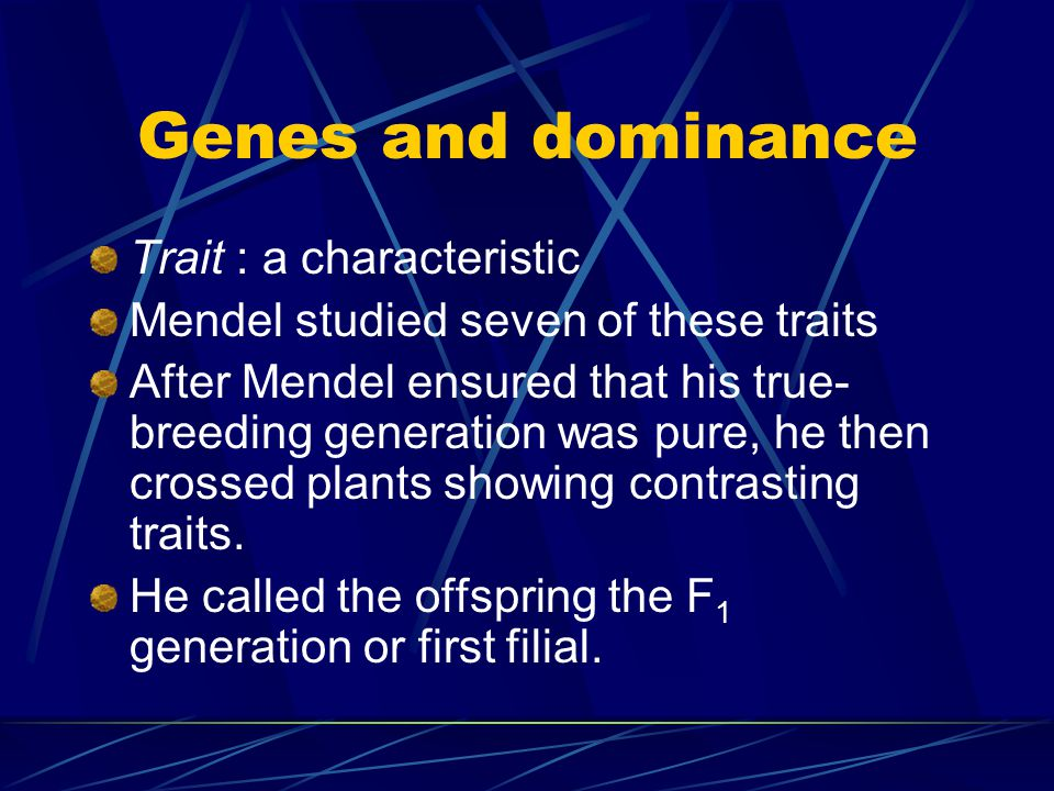 "Mendel's experiments The first thing Mendel did was create a ""pure"" generation or true-breeding generation. He made sure that certain pea plants were"