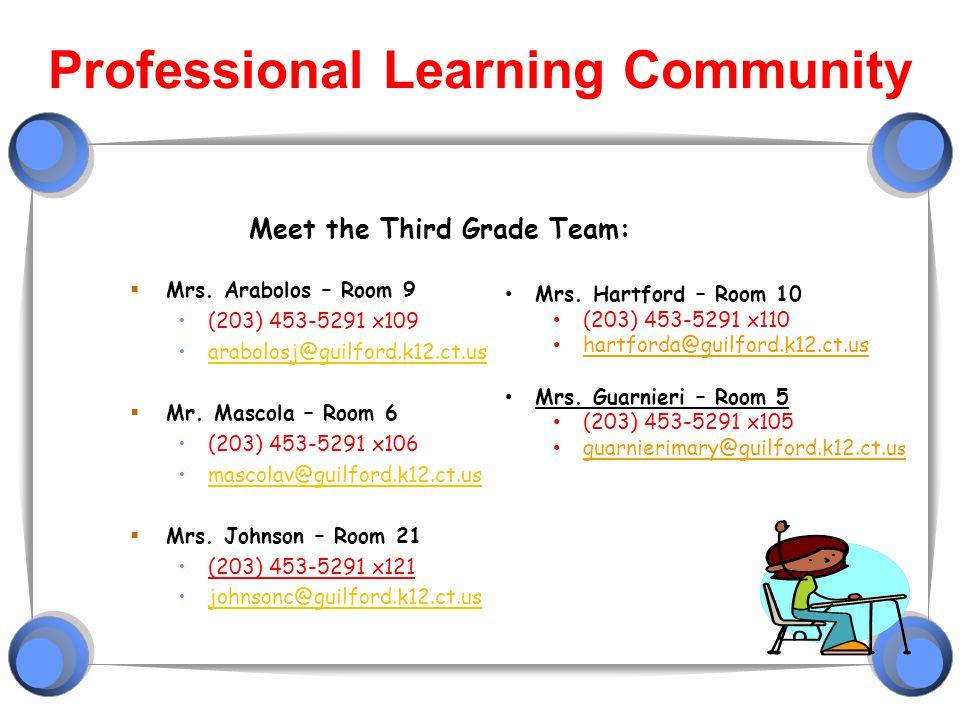 Professional Learning Community Meet the Third Grade Team:  Mrs. Arabolos – Room 9 (203) 453-5291 x109 arabolosj@guilford.k12.ct.us  Mr. Mascola – R