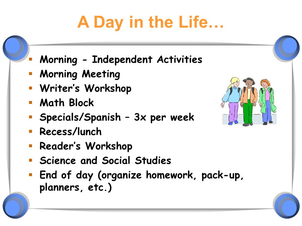 A Day in the Life…  Morning - Independent Activities  Morning Meeting  Writer's Workshop  Math Block  Specials/Spanish – 3x per week  Recess/lunch  Reader's Workshop  Science and Social Studies  End of day (organize homework, pack-up, planners, etc.)