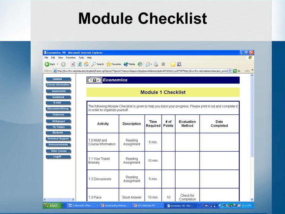 Module Checklist