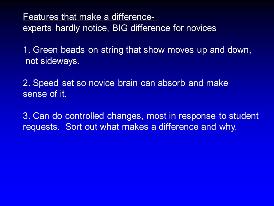 Features that make a difference- experts hardly notice, BIG difference for novices 1. Green beads on string that show moves up and down, not sideways.