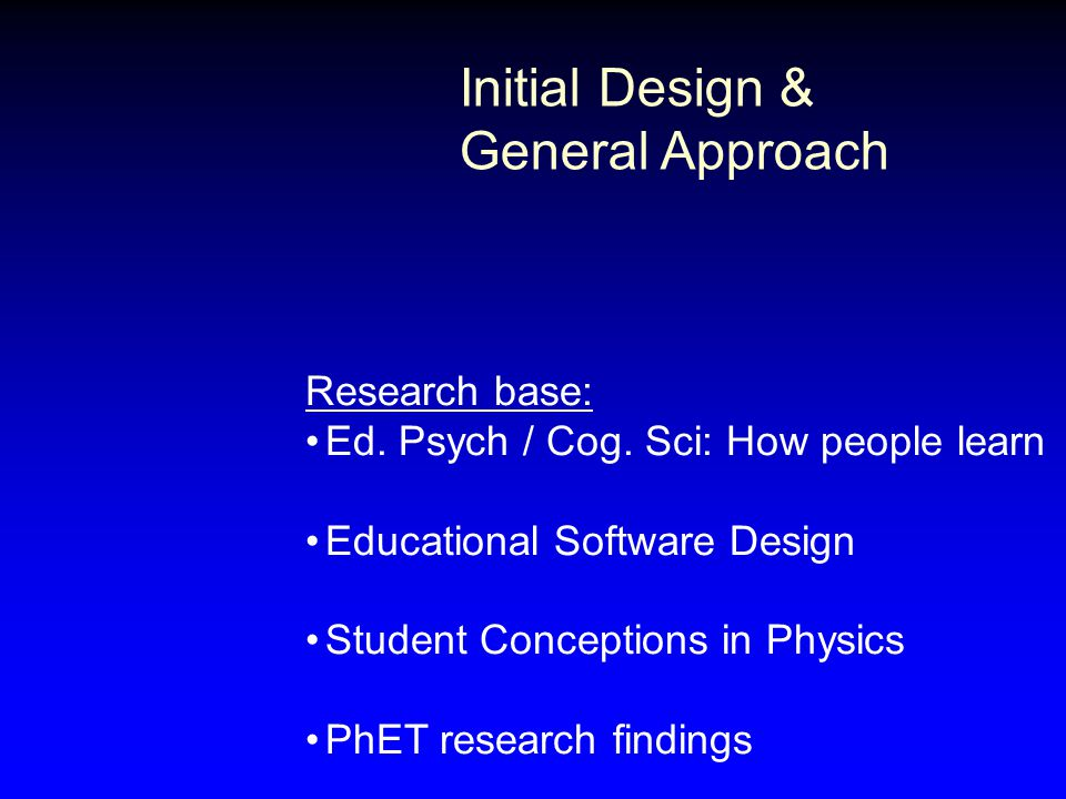 Initial Design & General Approach Research base: Ed. Psych / Cog. Sci: How people learn Educational Software Design Student Conceptions in Physics PhE