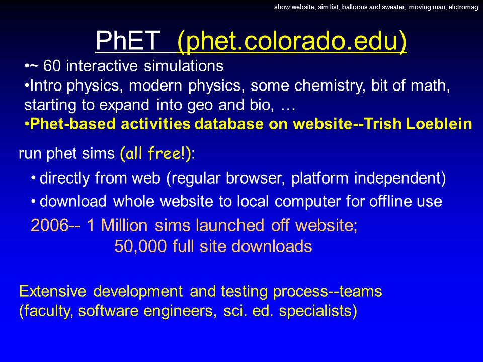 PhET (phet.colorado.edu) ~ 60 interactive simulations Intro physics, modern physics, some chemistry, bit of math, starting to expand into geo and bio, … Phet-based activities database on website--Trish Loeblein show website, sim list, balloons and sweater, moving man, elctromag run phet sims (all free!) : directly from web (regular browser, platform independent) download whole website to local computer for offline use 2006-- 1 Million sims launched off website; 50,000 full site downloads Extensive development and testing process--teams (faculty, software engineers, sci.