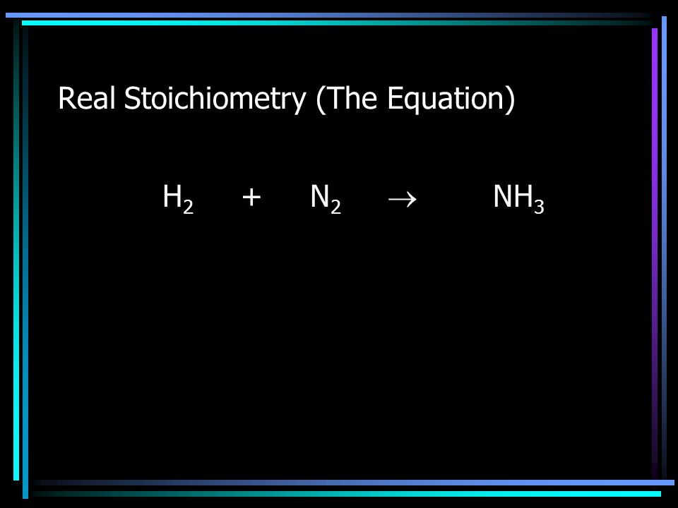 Real Stoichiometry (The Equation) H 2 + N 2  NH 3