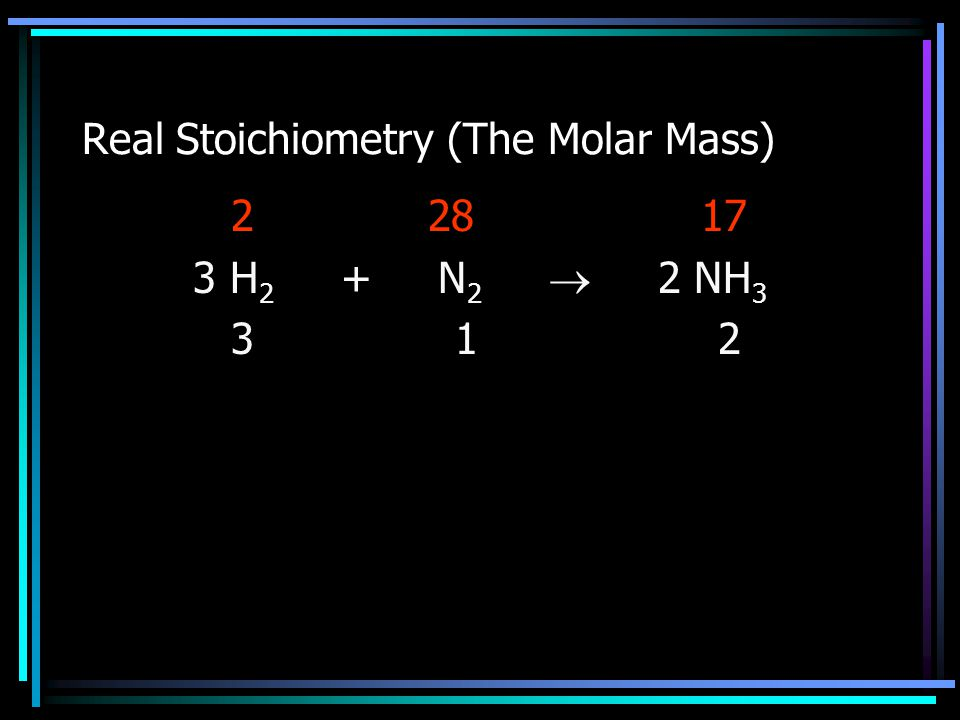 Real Stoichiometry (The Molar Mass) 2 28 17 3 H 2 + N 2  2 NH 3 3 1 2