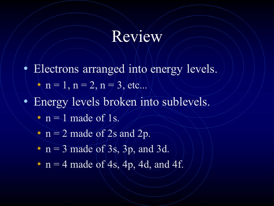 Review Electrons arranged into energy levels. n = 1, n = 2, n = 3, etc... Energy levels broken into sublevels. n = 1 made of 1s. n = 2 made of 2s and