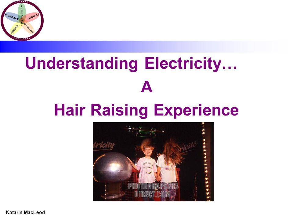 KATARIN MACLEOD Katarin MacLeod NUMERACY TECHNOLOGYTECHNOLOGY LITERACY SERVICE APPLICATION Understanding Electricity… A Hair Raising Experience