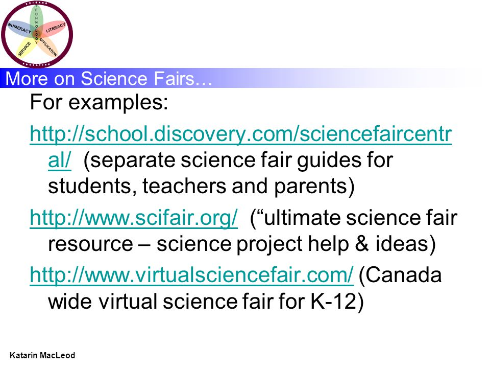 KATARIN MACLEOD Katarin MacLeod NUMERACY TECHNOLOGYTECHNOLOGY LITERACY SERVICE APPLICATION More on Science Fairs… For examples: http://school.discovery.com/sciencefaircentr al/http://school.discovery.com/sciencefaircentr al/ (separate science fair guides for students, teachers and parents) http://www.scifair.org/http://www.scifair.org/ ( ultimate science fair resource – science project help & ideas) http://www.virtualsciencefair.com/http://www.virtualsciencefair.com/ (Canada wide virtual science fair for K-12)