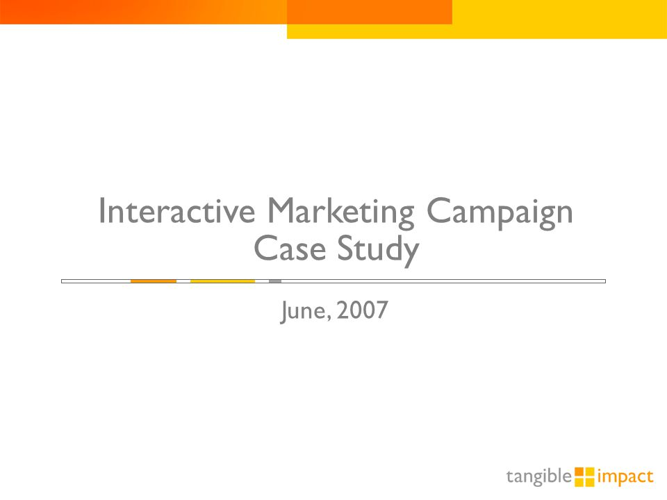 Interactive Marketing Campaign Case Study June, 2007