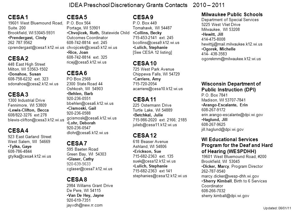 Updated: 06/01/11 IDEA Preschool Discretionary Grants Contacts 2010 – 2011 CESA 1 19601 West Bluemound Road, Suite.