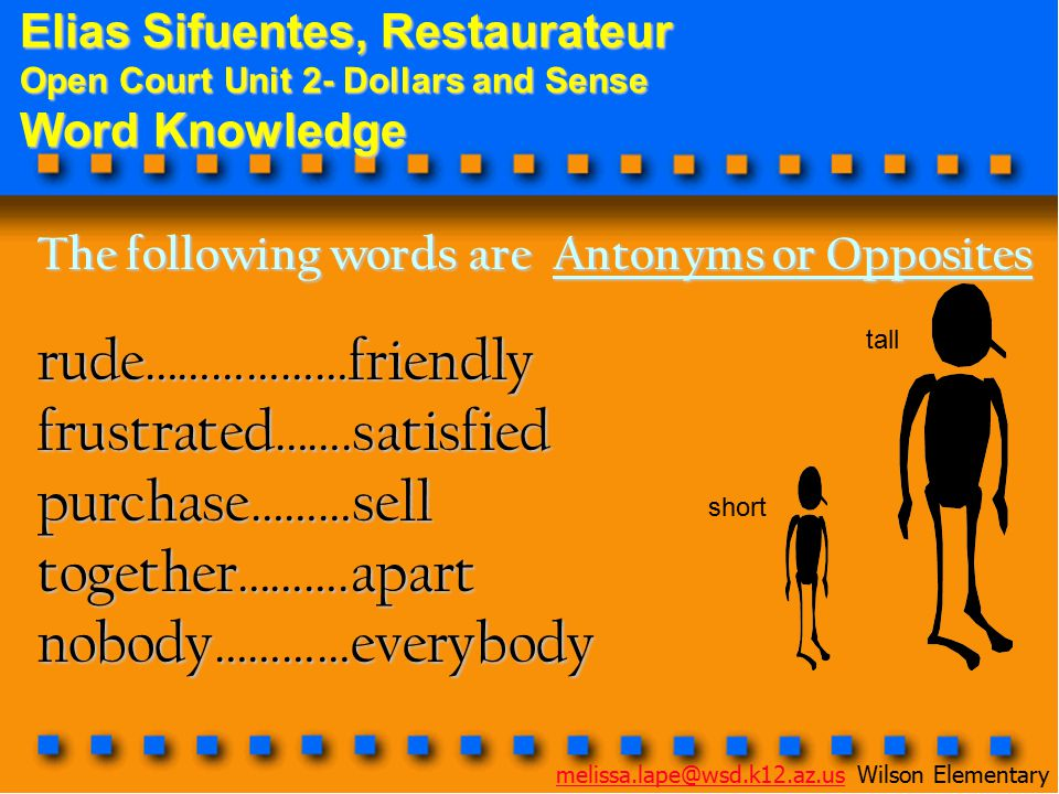 Elias Sifuentes, Restaurateur Open Court Unit 2- Dollars and Sense Word Knowledge The following words are Antonyms or Opposites rude………………friendlyfrustrated…….satisfiedpurchase………selltogether……….apartnobody…………everybody short tall melissa.lape@wsd.k12.az.usmelissa.lape@wsd.k12.az.us Wilson Elementary