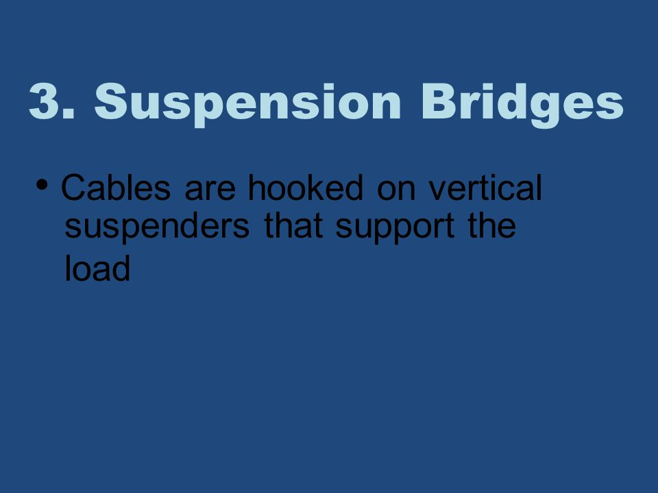 3. Suspension Bridges Cables are hooked on vertical suspenders that support the load