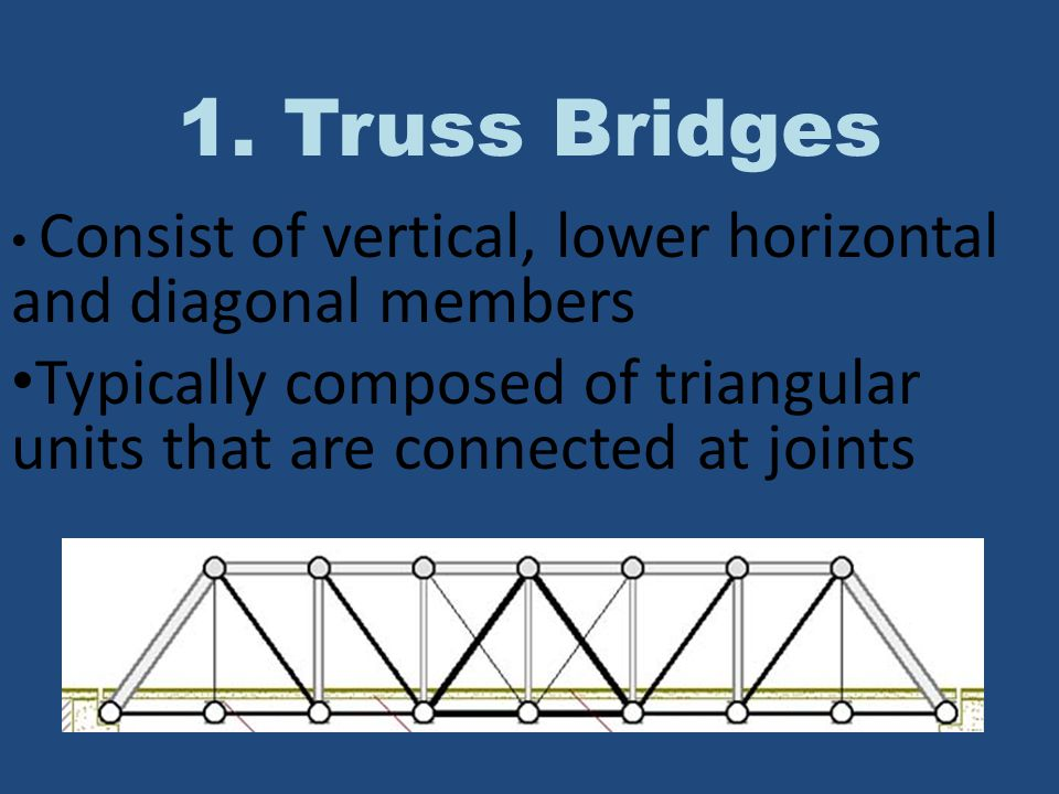 The truss (which is usually a triangular unit) creates both a very rigid structure and one that transfers the load from a single point to a considerably wider area Truss bridges are commonly made from a series of straight, steel bars.