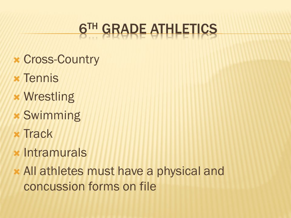  Cross-Country  Tennis  Wrestling  Swimming  Track  Intramurals  All athletes must have a physical and concussion forms on file