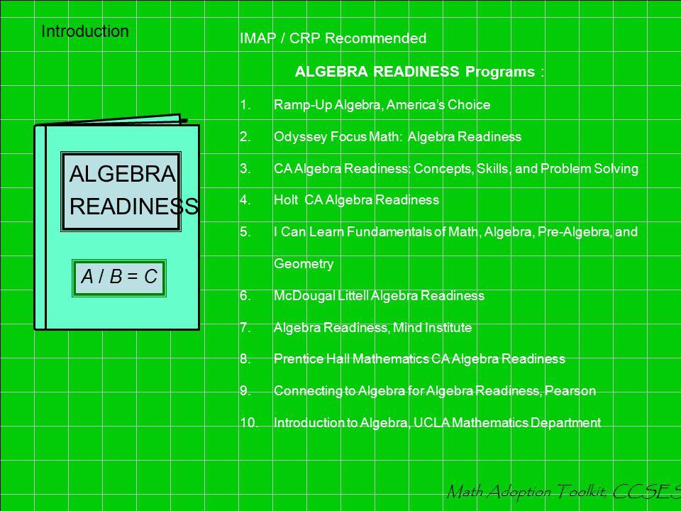 INTERVENTION Mathematics 12 ÷ 3 = 4 IMAP / CRP Recommended INTERVENTION Programs Grades 4-7: 1.