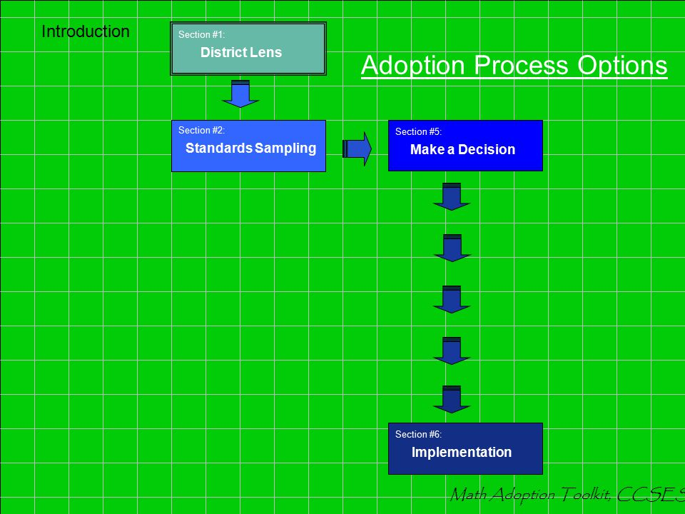 Adoption Process Options Introduction Section #3: Program Components Section #4: Further Comparison Section #2: Standards Sampling Section #6: Impleme