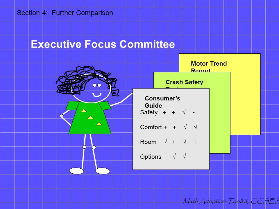 Further Comparison Executive Committee Review Piloting Student Interviews Math Adoption Toolkit, CCSESA Mathematics Adoption Toolkit Section Four