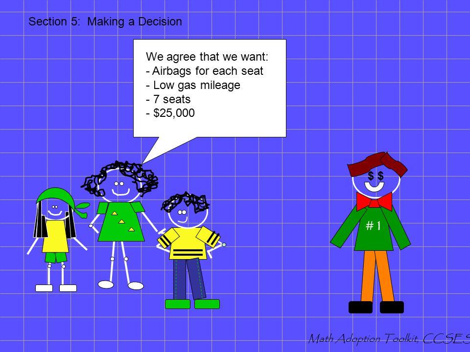 Making a Decision Mathematics Adoption Toolkit Section Five Math Adoption Toolkit, CCSESA