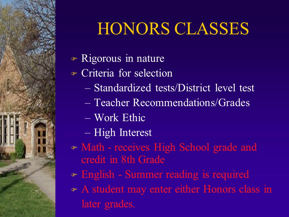 REQUIRED CORE COURSES F English F Mathematics F Science F Social Studies