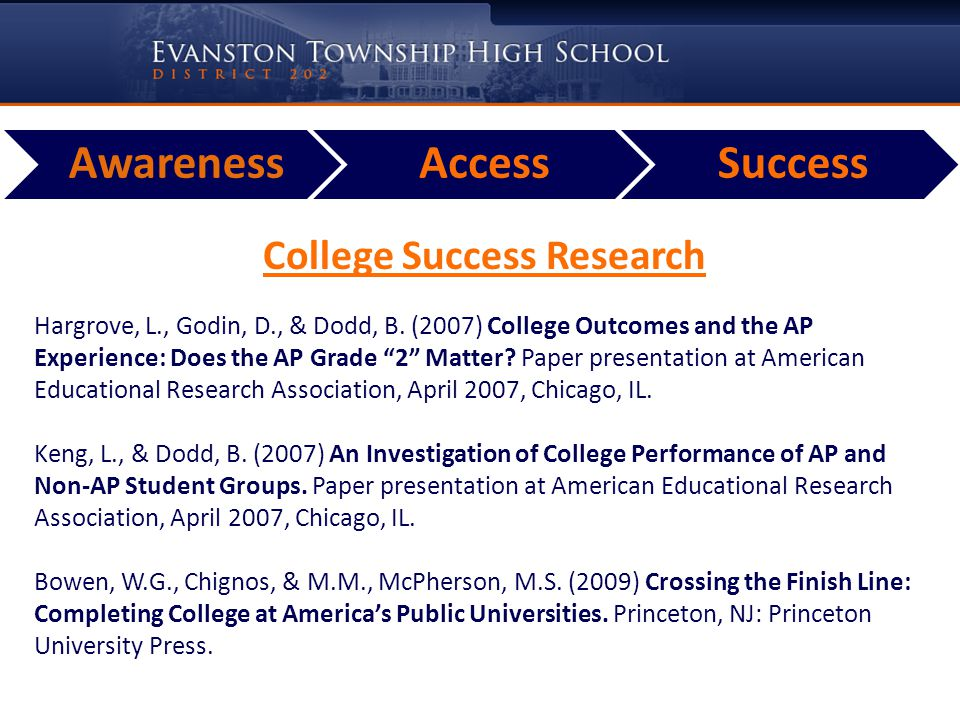 College Success Research Outcomes An AP exam score of 2 correlates with better college performance than students who did not take an AP course or took the course and skipped the exam.